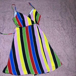 Multi-color striped flair wrap dress!